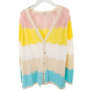 Pastel hued colorblock cardigan sweater 3X